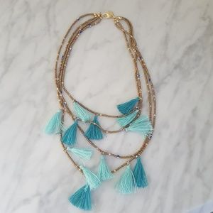 Express Layered Beaded Fringe Bib Necklace Boho